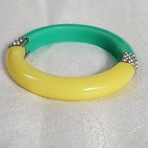 Ann Taylor Yel Green Crystal Bangle Bracelet #936